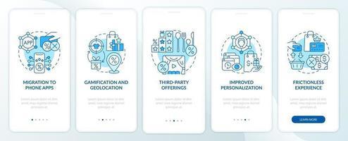 tendências de programas de fidelidade tela azul da página do aplicativo móvel de integração vetor