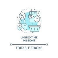 ícone de conceito azul de missões por tempo limitado vetor