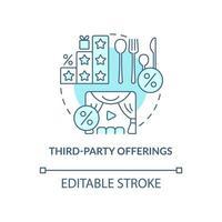 ícone de conceito azul de ofertas de terceiros vetor