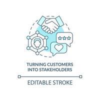 transformando clientes em ícone de conceito azul das partes interessadas vetor