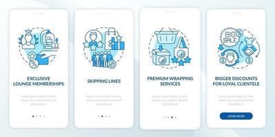 Benefícios do programa de fidelidade tela azul da página do aplicativo móvel de integração vetor
