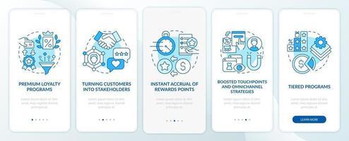tendências do programa de fidelidade tela azul da página do aplicativo para dispositivos móveis vetor