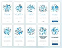 sistema de recompensa para clientes que integram o conjunto de tela azul da página do aplicativo móvel vetor