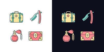 conjunto de ícones de cores rgb de tema claro e escuro coleção vintage vetor