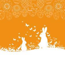 Cartão de Páscoa com fundo de ovos ornamentais de coelho vetor