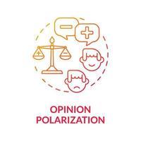 ícone de conceito de gradiente de polarização de opinião vetor