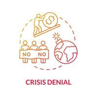 ícone de conceito gradiente de negação de crise vetor