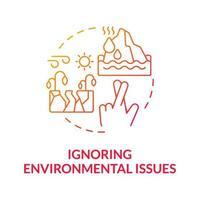 Ignorando questões ambientais ícone de conceito gradiente vetor