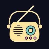 ícone de cor rgb de rádio antigo para tema escuro vetor