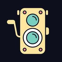ícone de cor rgb de câmera de foto antiga para tema escuro vetor