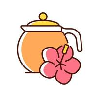 ícone de cor rgb de chá de hibisco vetor