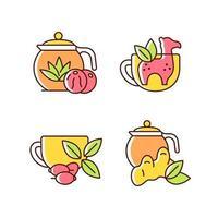 conjunto de ícones de cores rgb de chá medicinal vetor