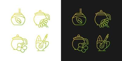 ícones gradientes de chá de ervas definidos para o modo claro e escuro vetor