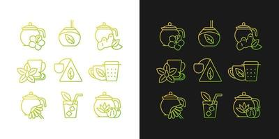 ícones gradientes de chá e bebidas semelhantes a chá definidos para o modo claro e escuro vetor