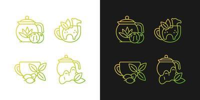 Ícones de gradiente de chá medicinal definidos para o modo escuro e claro vetor