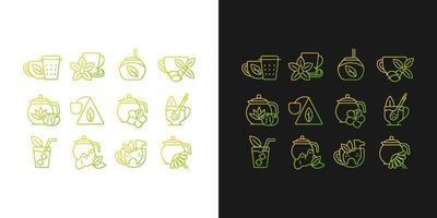 ícones gradientes relacionados ao consumo de chá definidos para o modo claro e escuro vetor