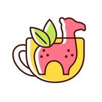 ícone de cor rgb infusor de chá de silicone vetor