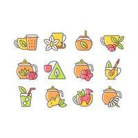 conjunto de ícones de cores rgb relacionados a beber chá vetor