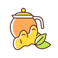 ícone de cor rgb de chá de gengibre vetor