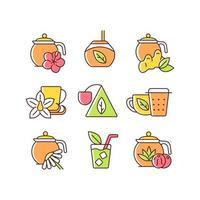 chá e bebidas semelhantes a chá conjunto de ícones de cores rgb vetor