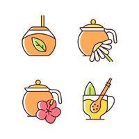 conjunto de ícones de cores rgb de chá de ervas vetor