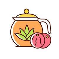 ícone de cor rgb de chá florescendo vetor
