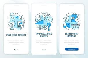 exemplos de programas de fidelidade tela azul da página do aplicativo móvel de integração vetor