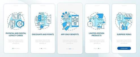 tela azul da página do aplicativo móvel de integração do programa de fidelidade de supermercado vetor