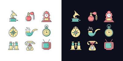 itens retro conjunto de ícones de cores rgb de tema claro e escuro vetor