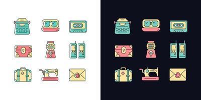 Conjunto de ícones de cores rgb de tema claro e escuro com estilo inspirado no vintage vetor