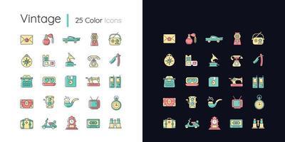Conjunto de ícones de cores rgb de tema claro e escuro estilo vintage vetor