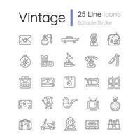 conjunto de ícones lineares de estilo vintage vetor