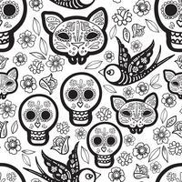 Colorir para adultos do Dia dos Mortos vetor