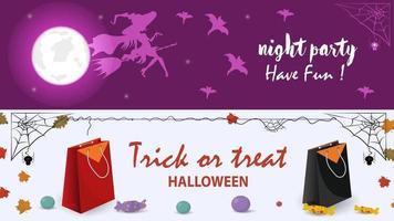 a bruxa está voando em uma sacola de compras de vassoura halloween vetor