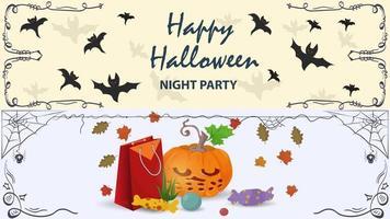 morcegos e uma abóbora com doces ilustração do halloween vetor