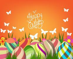 ovos de Páscoa verde e fundo de coelho