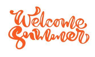 Escova caligrafia letras composição texto bem-vindo verão vetor