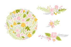 Conjunto de vetores de flores em tons pastel