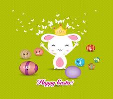 Coelhinho da Páscoa brincalhão com cartão colorido de ovos vetor
