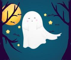 vetor fofo fantasma de halloween premium