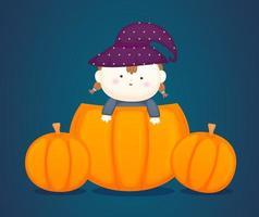 bebê fofo com fantasia de halloween. ilustração dos desenhos animados da abóbora vetor