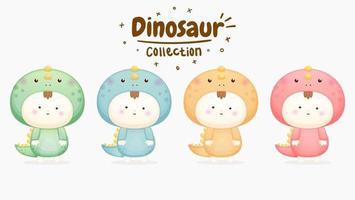 conjunto de bebê fofo fantasiado de dinossauro com cores diferentes vetor