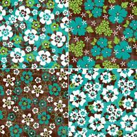 Padrões florais tropicais azuis e verdes vetor