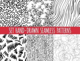 Conjunto de quatro sem costura abstratos desenhados à mão padrão,