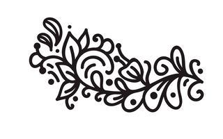 Monograma escandinavo de florescer monoline preto vector com folhas e flores