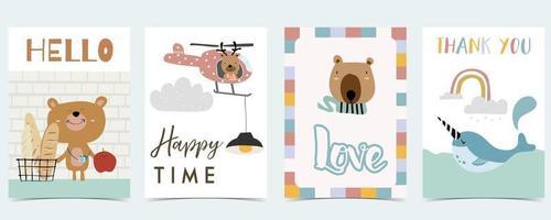 fundo bonito para mídia social. conjunto de história com arco-íris, urso, árvore vetor