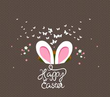 ovos de páscoa felizes e cartão do coelho