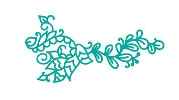 Floreio escandinavo monoline turquesa vetor