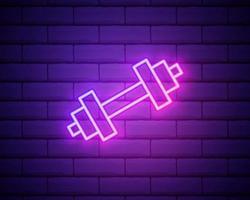 ícone de haltere de néon brilhante isolado no fundo da parede de tijolos vetor