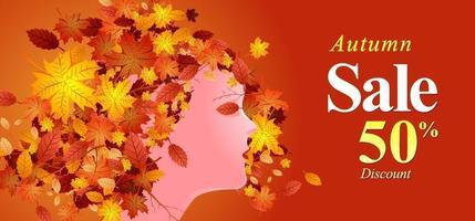ilustração em vetor de banner de desconto de venda de outono